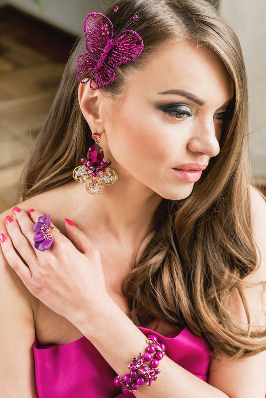 Fuchsia Swarovski crystal statement fashion fine butterfly brooch earrings ring bracelet