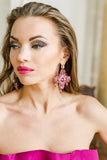 Pink Swarovski crystals silver statement luxury big cross earrings handmade ootd