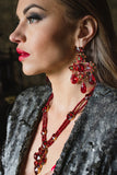 Red cross Luxury statement big earrings