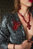 Red Swarovski crystal statement fashion fine butterfly brooch handmade ootd necklace