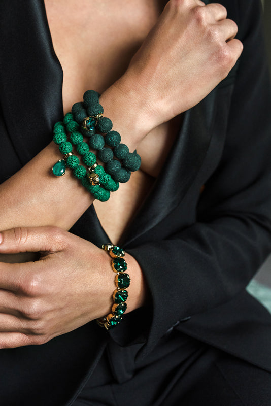 Green Volcanic Lava gemstone, Swarovski crystal, Gold plated stetement luxury fine bracelet