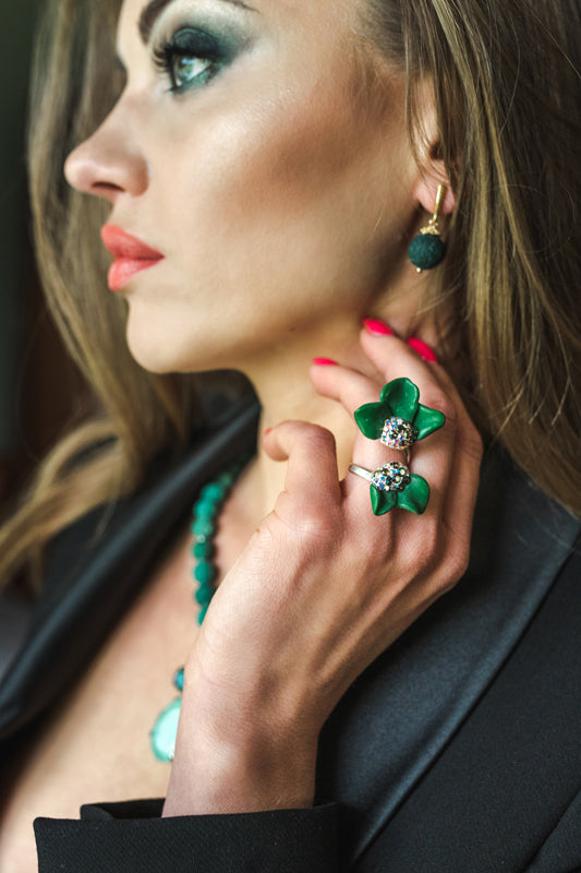 Green Volcanic Lava gemstone, Gold plated statement luxury finee arrings