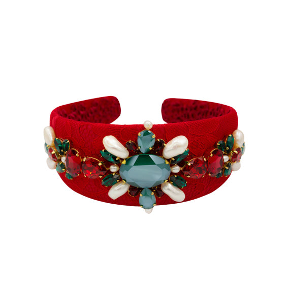 red green white pearl crystal lace handmade luxury art fashion ootd gold plated headband