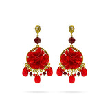 Red Swarovski crystal,  gold tone earrings