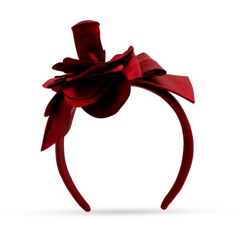red flower silk headband