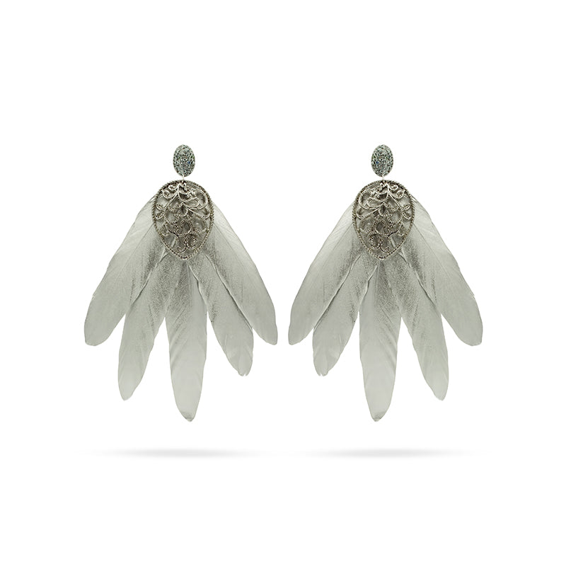 Silver tone feather Swarovski crystals big statement fashion earrings