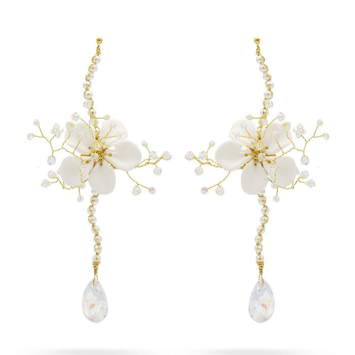 white flower crystal wedding earrings