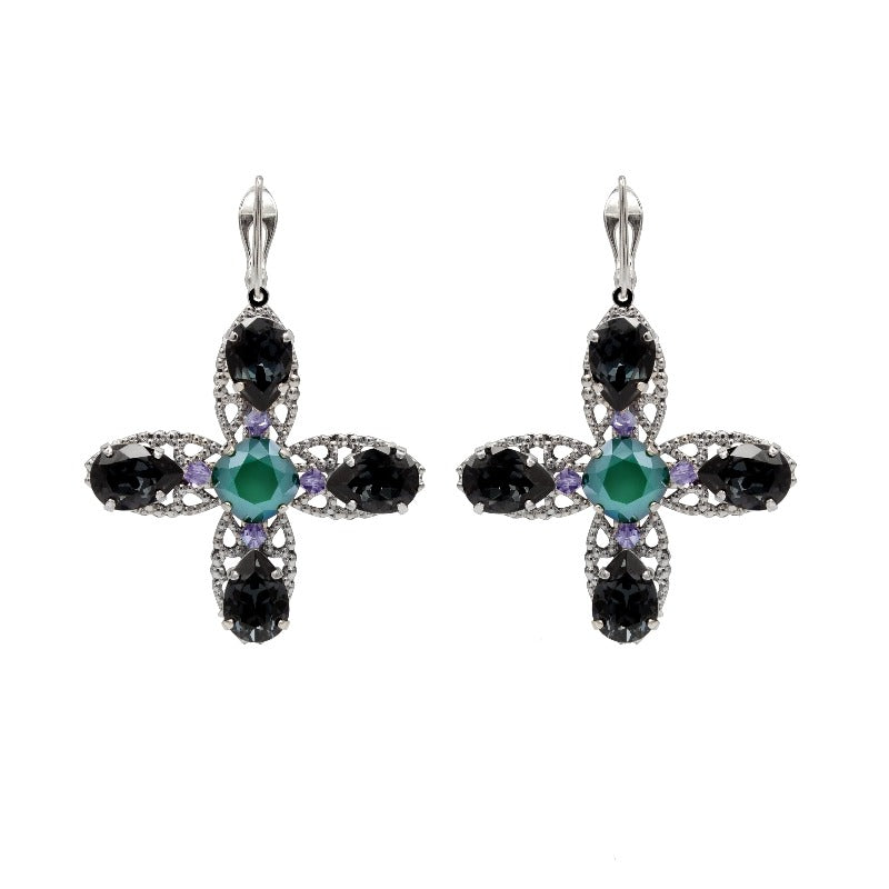 Swarovski crystal, silver and silver plated silver earrings