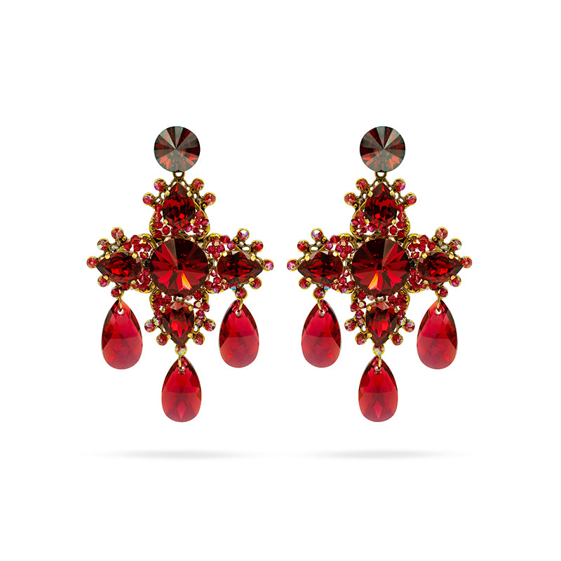 Scarlet red Swarovski crystals  gold plated statement luxury big cross earrings handmade ootd