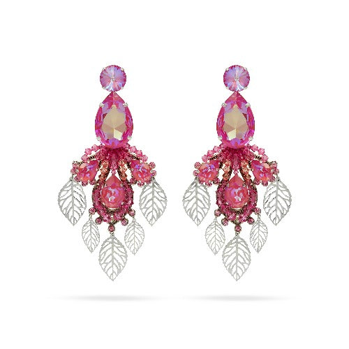 Pink Swarovski crystals earrings