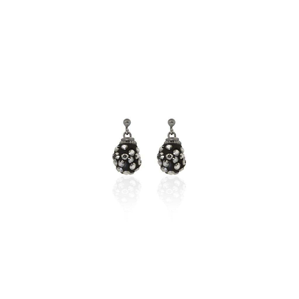 Black and silver Swarovski crystals rhodium plated small earrings