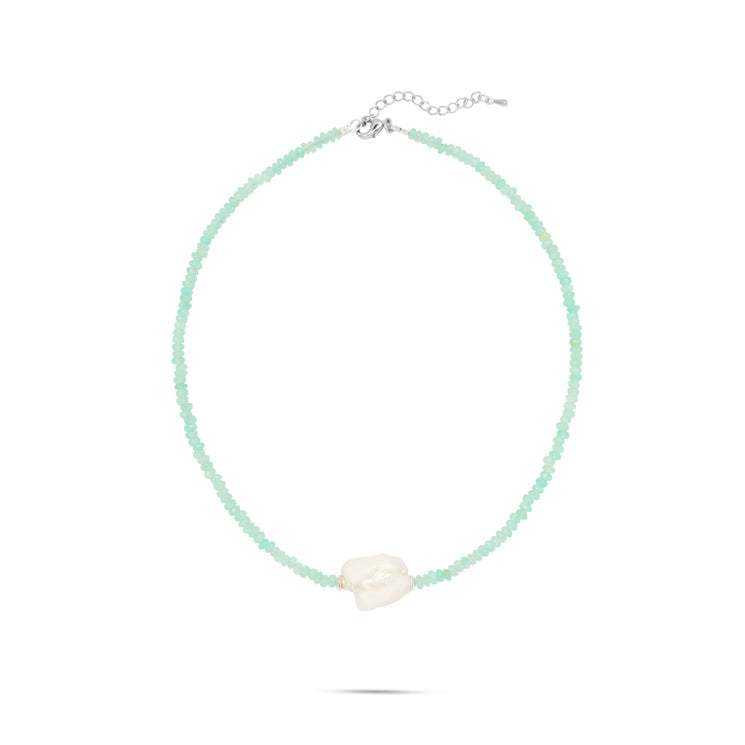 quartz gemstone white pearl silver tone necklace