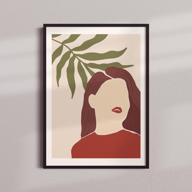 Woman Silhoutte | Green Leaf