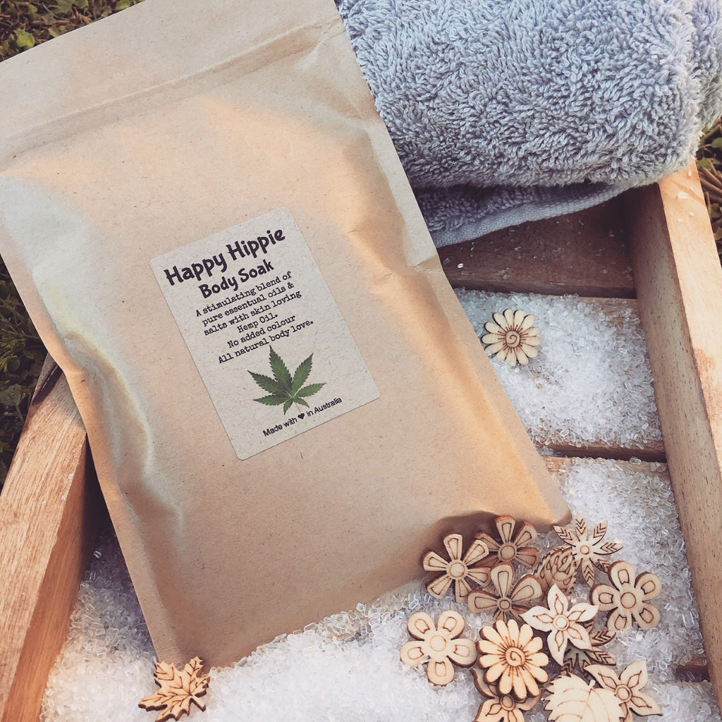 Happy Hippie Organic Hemp Oil 100% all Natural Lightly Bubbling Body Soak with Pink Salt Sea Salt Epsom Salts and Skin Loving Butters Made By Bomd Australia