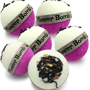 Flower Bomb Bubble Bath Bomb with Pink Lychee Set of 6 by Bomd Body