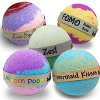 Bubble Bath Lovers Bath Bomb Gift Set of 5 Bath Fizzers, Mermaid Kisses,  Love Spell, FOMO, Zest & Unicorn Poop