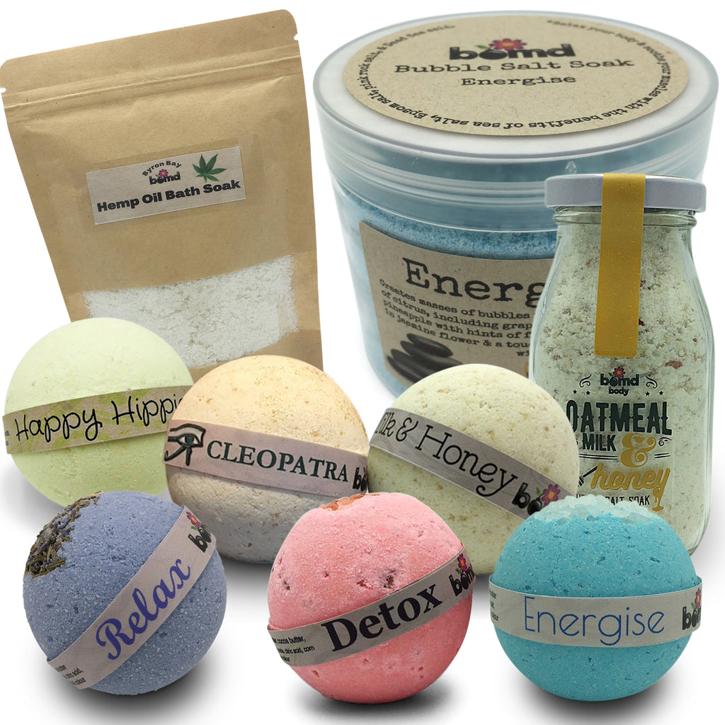 SET25 by Bomd full of Bath Bomb Body Soak and Bath Salt Bubble Soak Home Spa