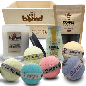 Luxury Bath Soak Set with Body Scrub Bubble Salt and Bombs presented in Bomd Australia Crate