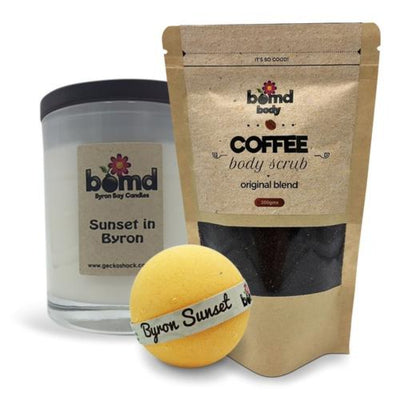 Sunset in Byron Candle, Tropical Bubble Bath Bomb & Coffee Body Scrub Gift Set by Bomd Body