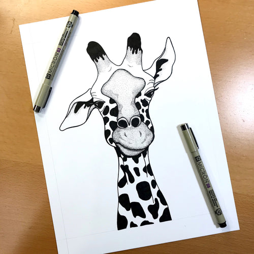 Annoyed Giraffe - Funny Giraffe Inspired Original Ink Illustration