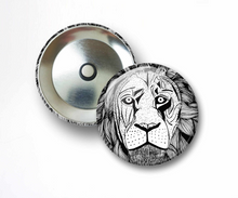 Load image into Gallery viewer, Elliott's Lion - Animal Ink Drawing - 2.25 Inch Refrigerator Magnet