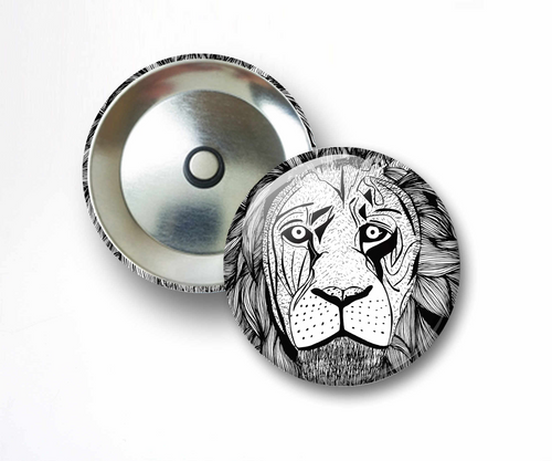 Elliott's Lion - Animal Ink Drawing - 2.25 Inch Refrigerator Magnet