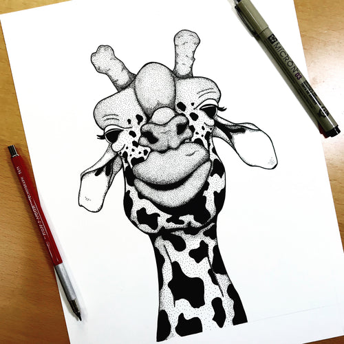 Papa Giraffe - Funny Giraffe Inspired Original Ink Illustration