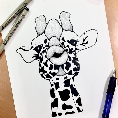 Kissy Face - Funny Giraffe Inspired Original Ink Illustration