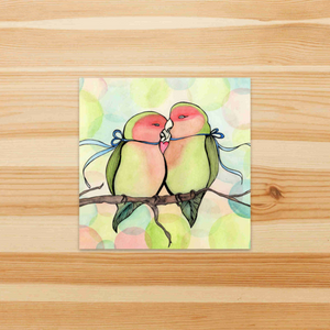 Love Birds - Romance Inspired Watercolor Painting - Square Vinyl Sticker