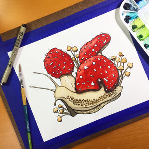 Amanita Snail - Fungi Inspired Original Watercolor & Ink Illustration