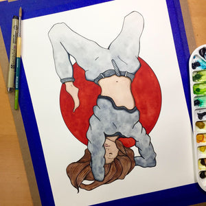 Topsy Turvy - Uncertainty Inspired Original Watercolor & Ink Illustration