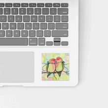 Load image into Gallery viewer, Love Birds - Romance Inspired Watercolor Painting - Square Vinyl Sticker
