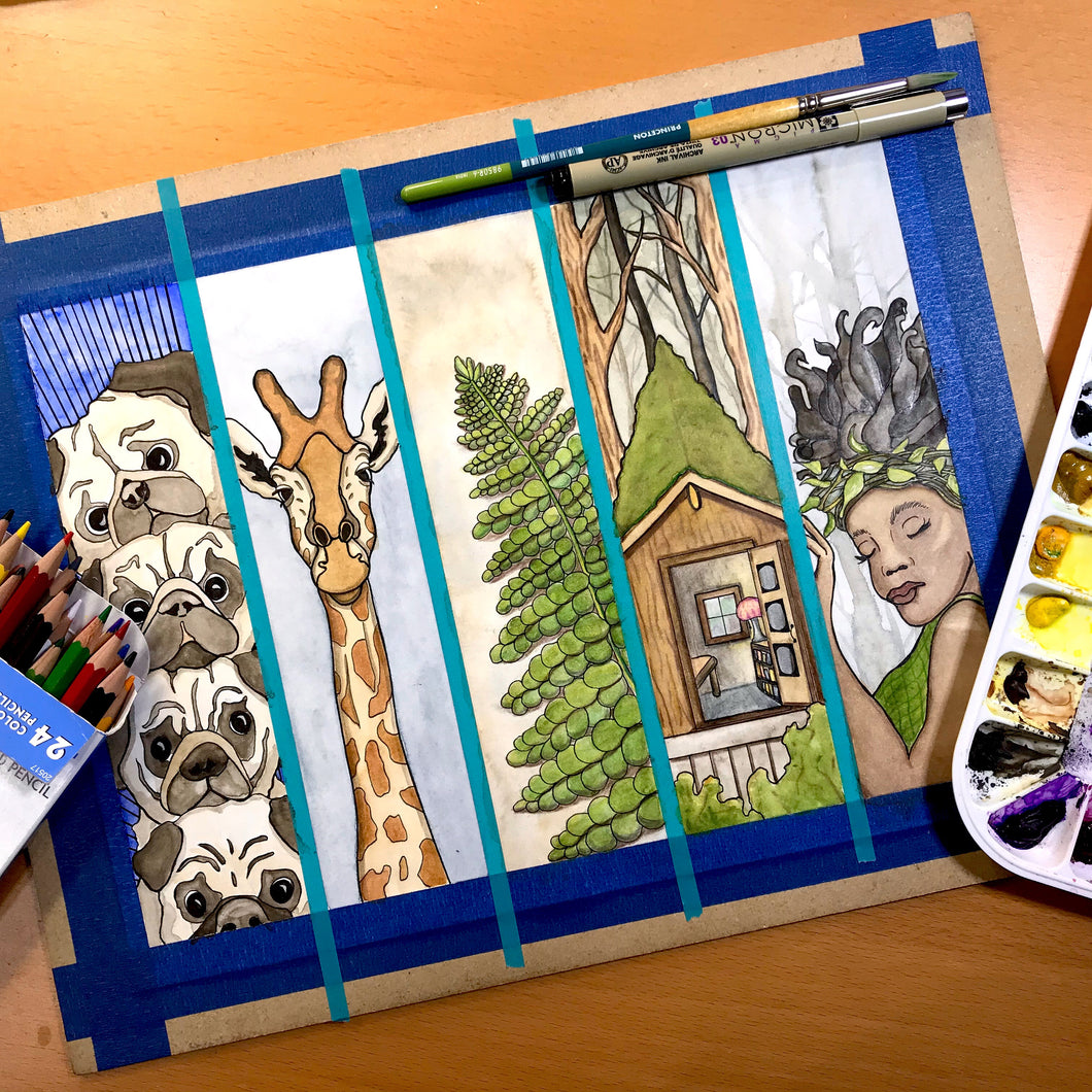 Bookmark Sheet, Pugs, Giraffe, Fern, Hut & Forrest Nymph - Original Watercolor & Ink Illustration