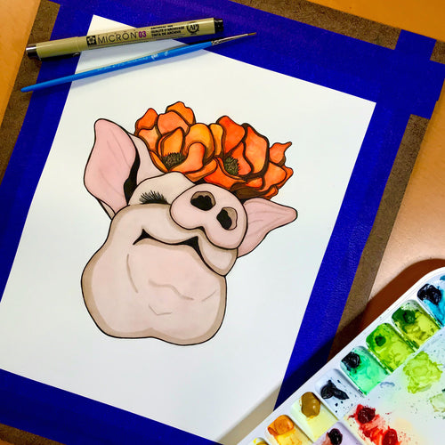 Poppy Pig - Smile Inspired Original Watercolor & Ink Illustration