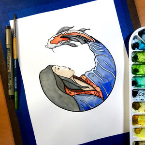 Koi Spirit - Spirit Animal Inspired Original Watercolor & Ink Illustration
