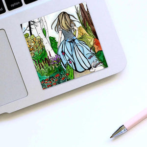 Alice - Lewis Carroll's Wonderland Inspired Watercolor Painting - Square Vinyl Sticker