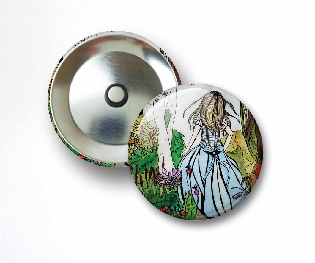 Alice - Lewis Carroll's Wonderland Inspired Watercolor Painting - 2.25 Inch Refrigerator Magnet