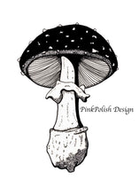 "Load image into Gallery viewer, Amanita Pettit Mushroom - PNW Fungi Inspired Original Ink Illustration, 5""x7"""