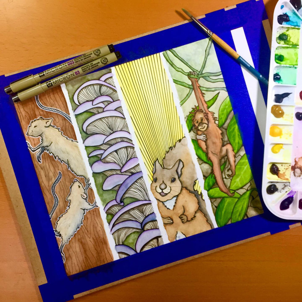 Bookmark Sheet, Mice, Mushrooms, Squirrel & Orangutan - Original Watercolor & Ink Illustration
