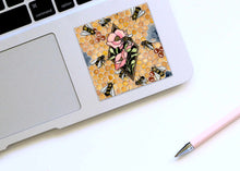 Load image into Gallery viewer, Bee Repetition - Honey Bee Inspired Watercolor Painting - Square Vinyl Sticker