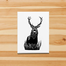 Load image into Gallery viewer, Blitzen Buck - Reindeer Inspired Ink Drawing Art Print - Handmade Note Card