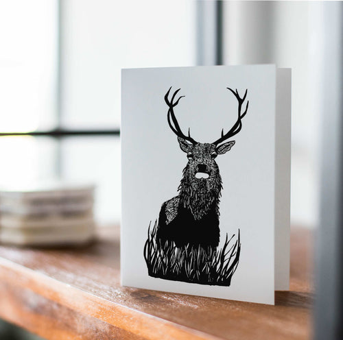 Blitzen Buck - Reindeer Inspired Ink Drawing Art Print - Handmade Note Card