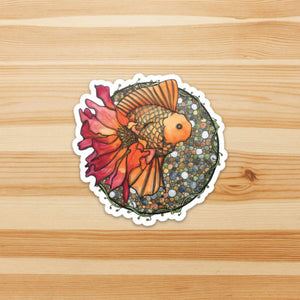 Blooming Goldfish - Fish Inspired Watercolor - Die Cut Vinyl Sticker
