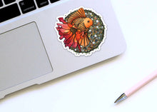 Load image into Gallery viewer, Blooming Goldfish - Fish Inspired Watercolor - Die Cut Vinyl Sticker