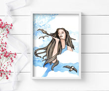 Load image into Gallery viewer, Blue Sky - Cloud Princess Inspired Watercolor - Art Print