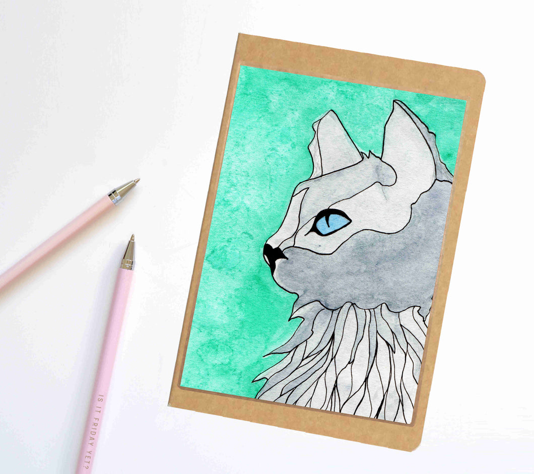 Blue Eyed Kitty, Cat Inspired Notebook / Sketchbook / Journal
