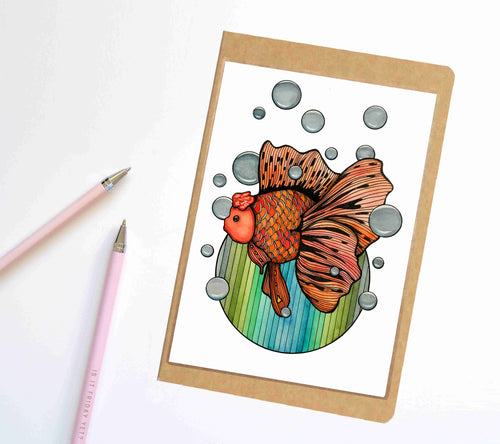 Bubble Fish, Goldfish Inspired Notebook / Sketchbook / Journal