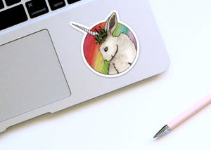 Bunnicorn - Unicorn Rabbit Inspired Watercolor Painting - Die Cut Vinyl Sticker