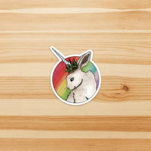 Load image into Gallery viewer, Bunnicorn - Unicorn Rabbit Inspired Watercolor Painting - Die Cut Vinyl Sticker