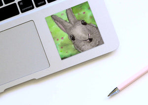 Bunny Surprise  - Rabbit Inspired Watercolor Painting - Square Vinyl Sticker